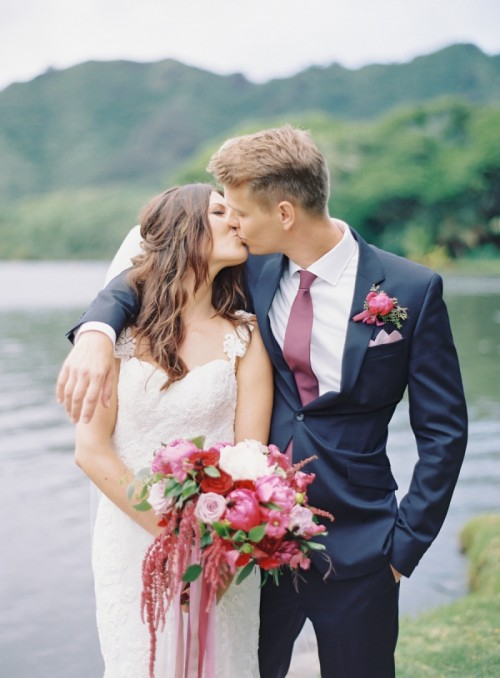 Adorable Berry Colored Hawaii Wedding