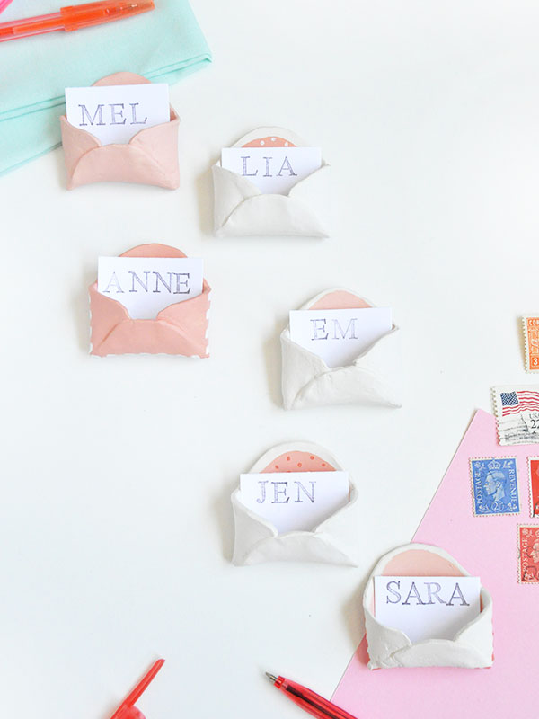 Picture Of adorable diy mini clay envelops for your bridal shower  1