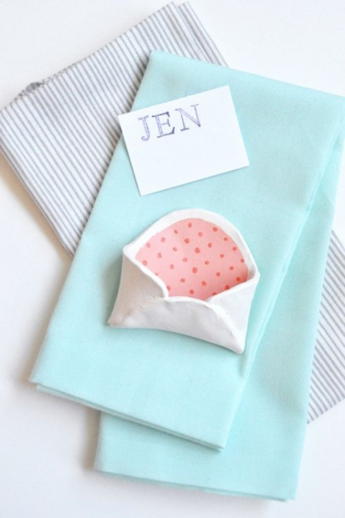 Adorable DIY Mini Clay Envelops For Your Bridal Shower