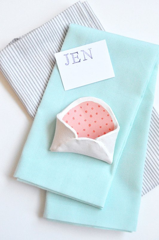 Picture Of adorable diy mini clay envelops for your bridal shower  4