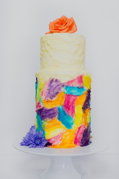 Adorable DIY Painted Watercolor Wedding Cake