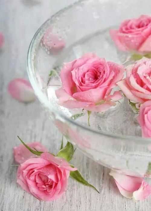 a bowl with floating pink roses is a lovely centerpiece or decoration for a wedding and it looks cool and fresh