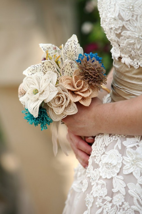a unique wedding bouquet of beaded blooms looks very unusual and can be DIYed if you can do it