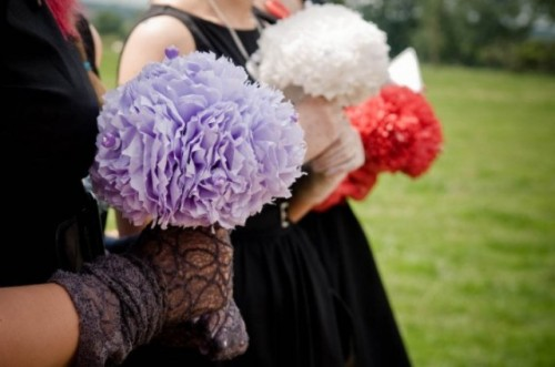 colorful paper wedding bouquets will save the budget and will help you keep the tradition up