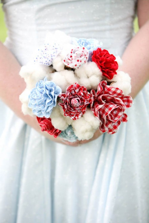 a whimsy wedding bouquet composed of cotton, blue, red plaid, polka dot fabric blooms is a veyr fun and bold idea