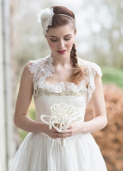 a pearl wedding bouquet is a non-traditional solution for a delicate vintage-loving bride