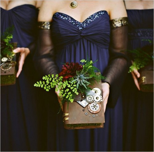 vintage books with steampunk detailing, burgundy blooms, thistles and greenery are amazing for reading fans