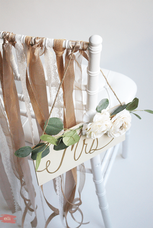 Picture Of amazing diy ribbon bride and groom chairs signs  3
