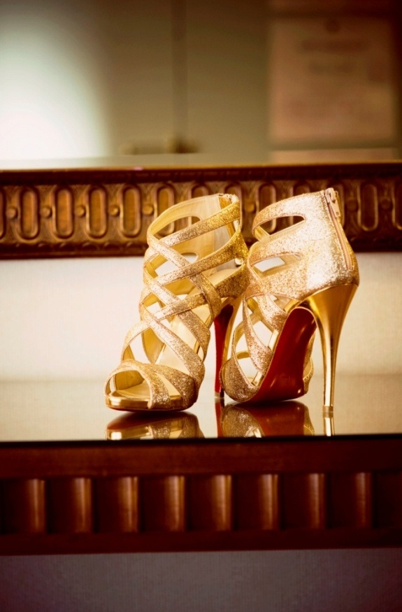 super sparkly strappy high heels in gold is a cool idea to glam up your bridal look