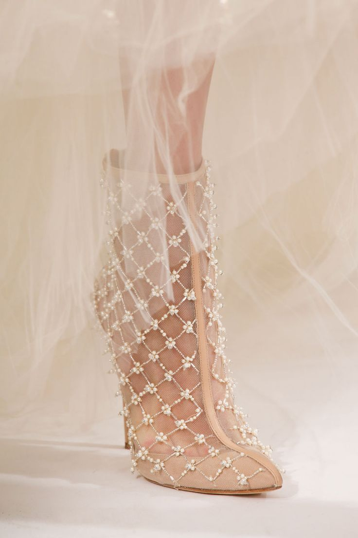 nude heavily embellished wedding booties are amazing and glam, this is a bold and chic idea for a glam girl