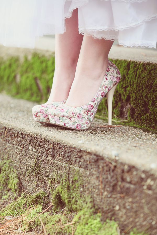 cute floral print platform wedding shoes are a nice idea for a spring or summer bride