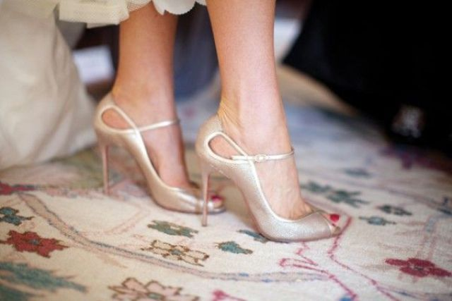 silver wedding shoes with cutouts and thin straps for a glam or ultra modern bride