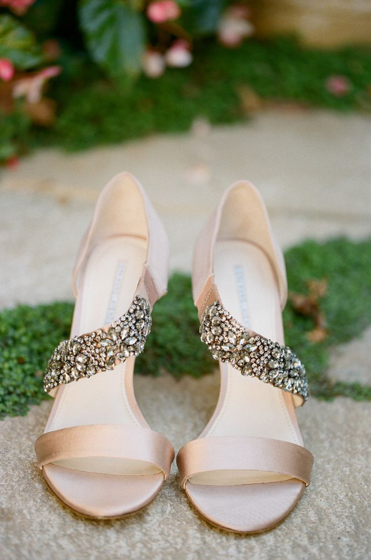 tan strappy wedding shoes with heavily embellished parts are a cool glam and modern idea for every bride