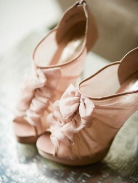 sheer blush peep toe wedding booties with ruffles are a super cute and chic idea for a girlish bride