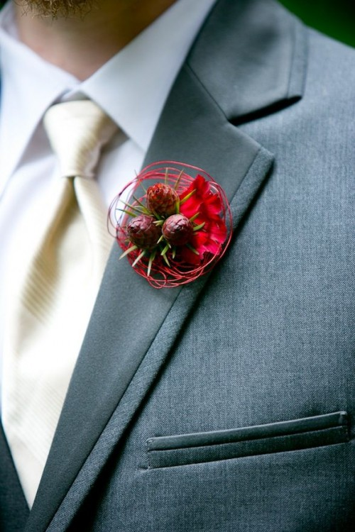 Amazing Winter Wedding Boutonnieres