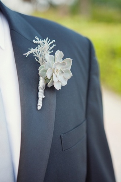 a pale winter boutonniere of a pale succulent and some pale herbs is a simple and pretty edition to the look