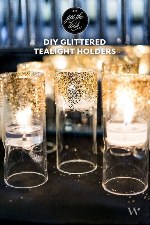 Art Deco-Inspired DIY Glittered Tealight Holders For Your Wedding Decor