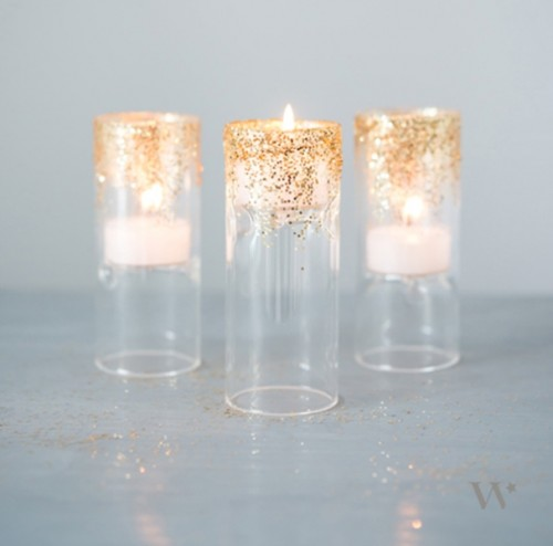 Art Deco Inspired Diy Glittered Tealight Holders For Your Wedding Decor