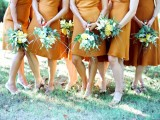 amber over the knee bridesmaid dresses and nude or black shoes for a modern fall wedding