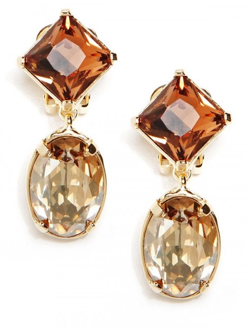 cognac and amber statement rhinestone earrings will make your bridal look very special