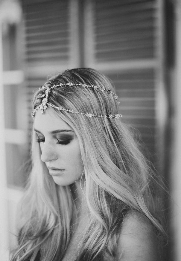 a chain and rhinestone multi layer headpiece is a cool boho idea with a Moroccan feel