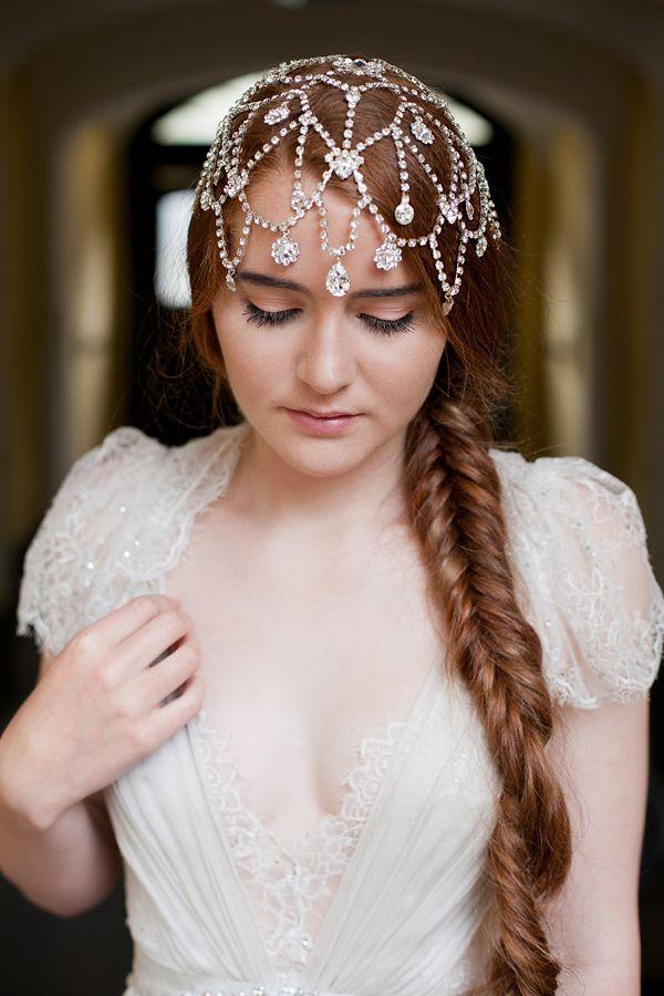 a boho sparkling rhinestone multi layer headpiece with sparkling pendants is a very beautiful idea