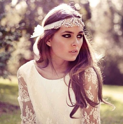 a romantic tulle and rhinestone botanical headpiece will accent your boho bridal look
