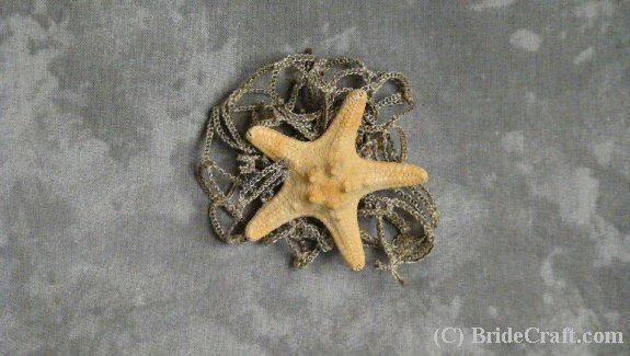 starfish and netting boutonniere