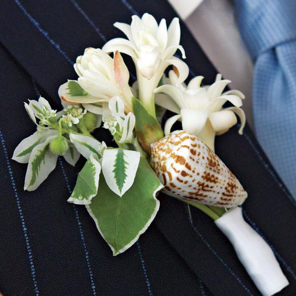 seashell and tuberose boutonniere