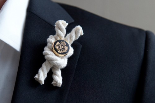 nautical rope boutonnieres (via somethingturquoise)