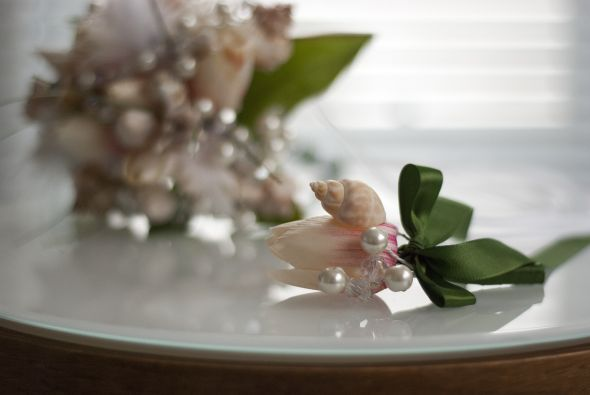 pearl and crystal boutonniere