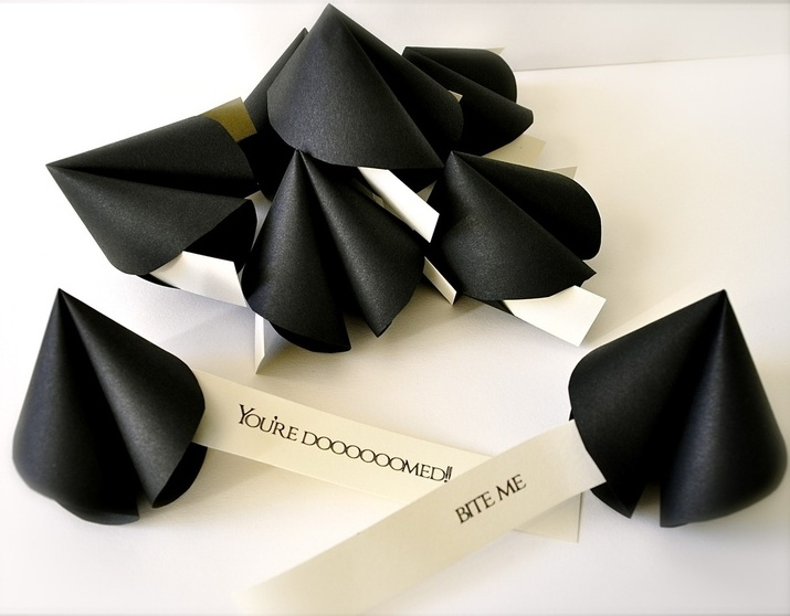 black paper wedding favors with predictions are nice and fine Halloween wedding favors you can easily make
