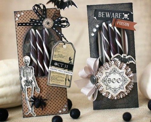 striped black and white candies in packs inspired by Halloween are budget-friendly and easy wedding favors