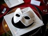 an elegant white embellished mask is a fantastic Halloween wedding favor for a masquerade wedding