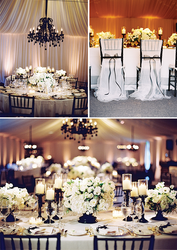 elegant black and white wedding decor with bows and lush blooms