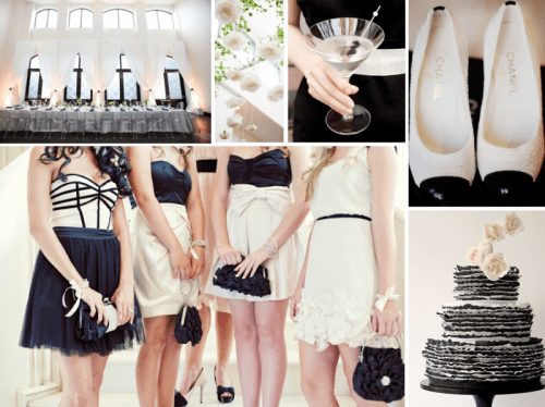 bridesmaids wearing black and white, black and white wedding shoes