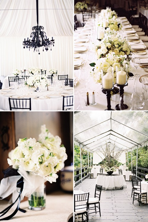 lush white blooms, white candles and black vases, chairs and chandeliers for chic styling