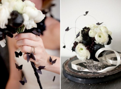 a black and white wedding bouquet with paper butterflies is a unique idea