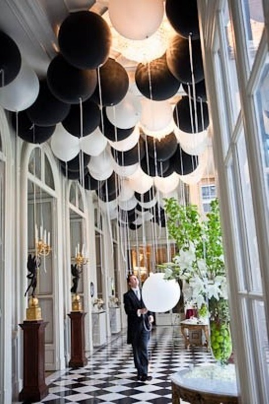 a black and white ballon installation for wedding decor