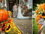 bright unflowers, leaves and pumpkins to decrate the wedding aisle