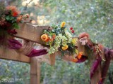 simple rustic fall wedding arch