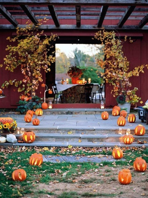 decorate your outdoor reception space with cutout pumpkins with candles, potted fall trees and candles