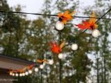 add fall leaves to lights and your venue will get a more fall-like look