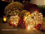 vine pumpkins with lights, fall leaves and bright fall flowers in pots are great for a fall wedding