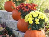 pumpkins with bright floral arrangements are great to decorate your outdoor fall wedding