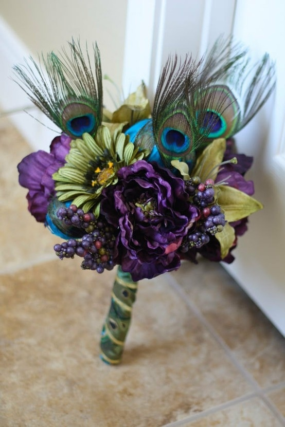 Picture Of A Bold Purple And Green Wedding Bouquet With