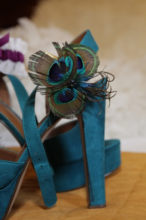 teal wedding shoes with hgih heels and peacock feathers for an accent