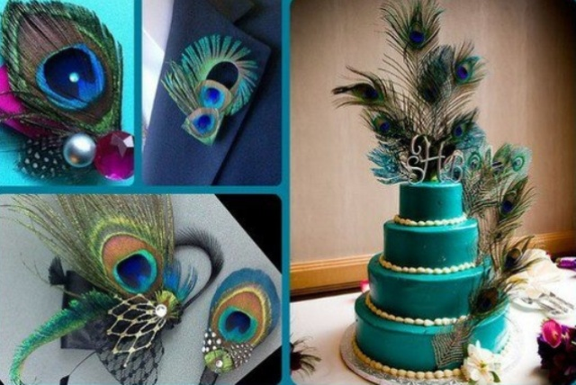 a wedding cake, boutonniere and jewelry accented with peacock feathers