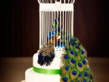 a wedding cake with a fake cage and a peacock plus a peacock tail made up of real feathers