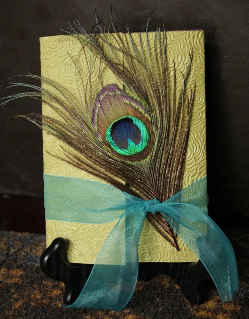 a wedding card accented with a peacock feather and a blue ribbon